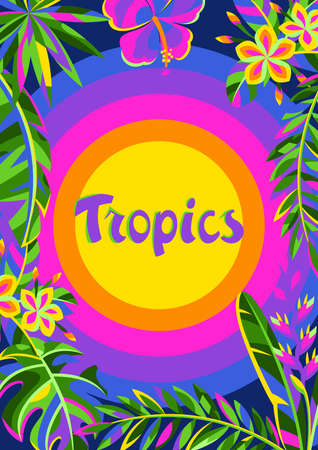Background with tropical flowers and palm leaves. Summer exotic decorative illustration.