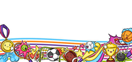 Background with kawaii sport items. Cute funny characters. Illustration for competition and tournament.