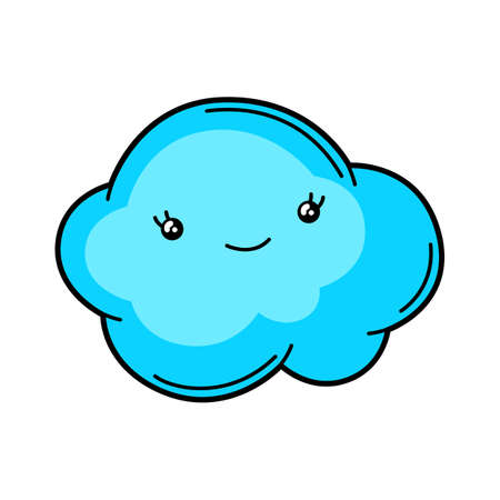 Kawaii cute illustration of cloud. Cartoon funny character.