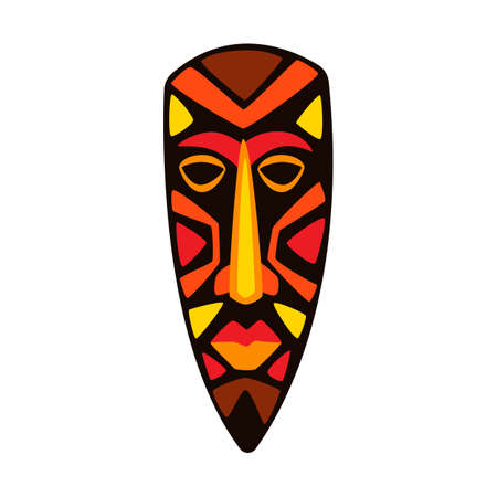 Illustration of stylized African mask. Tribal national ornament and decoration.