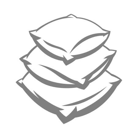 Illustration of soft pillow stack. Icon, emblem or label for for sleep products.