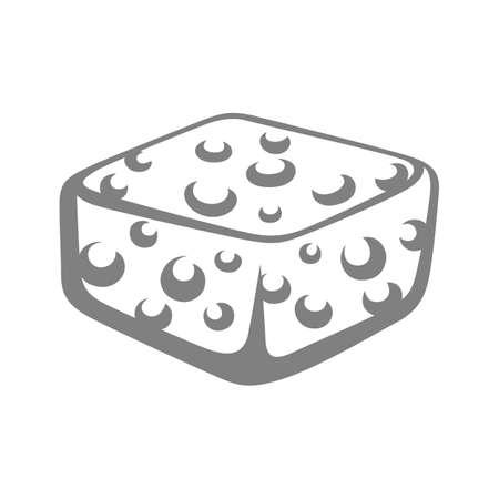 Illustration of foam sponge. Icon, emblem or label for products.