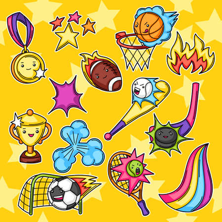Set of kawaii sport items. Cute funny characters. Illustration for competition and tournament.
