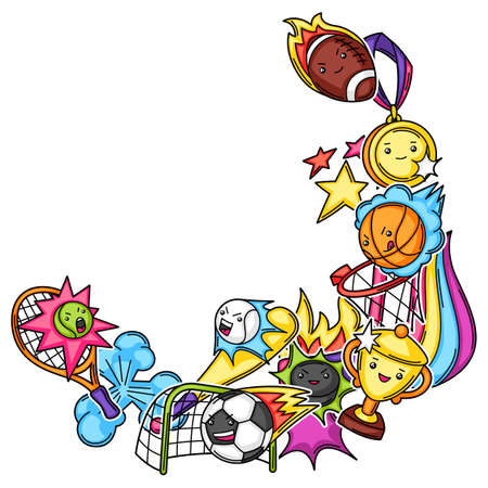 Frame with kawaii sport items. Cute funny characters. Illustration for competition and tournament.