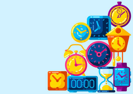 Background with different clocks. Stylized icons and objects for design and applications.