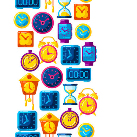 Seamless pattern with different clocks. Stylized icons and objects for design and applications. Ilustrace
