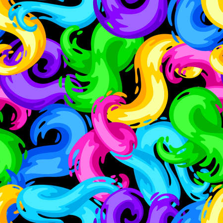 Seamless pattern with colored swirls or paint blots. Colorful shiny bright curls. Ilustrace