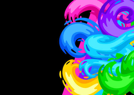 Background with colored swirls or paint blots. Colorful shiny bright curls.