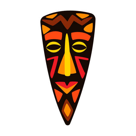 Illustration of stylized African mask. Tribal national ornament and decoration. Ilustración de vector