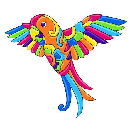 Decorative ornamental tropical parrot. Mexican ceramic cute naive art. Ethnic decorative objects. Traditional folk ornament.