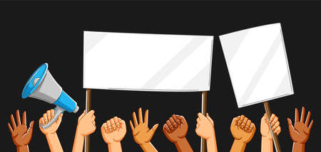 Illustration of hands with banners. Picket signs or protest placards on demonstration or protest. People holding blank demonstration posters. Raised fists and gestures.