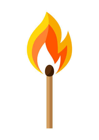 Illustration of burning match. Firefighting item. Adversting icon or image for industry and business. Ilustración de vector