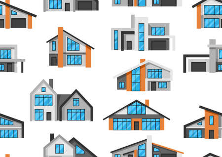 Seamless pattern with modern luxury houses. Real estate country cottages.