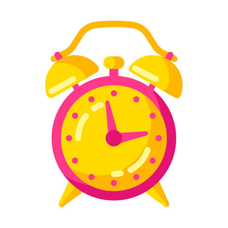 Illustration of alarm clock. Stylized icon for design and applications.
