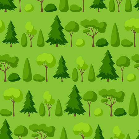 Seamless pattern with trees, spruces and bushes. Summer or spring landscape. Seasonal nature illustration.