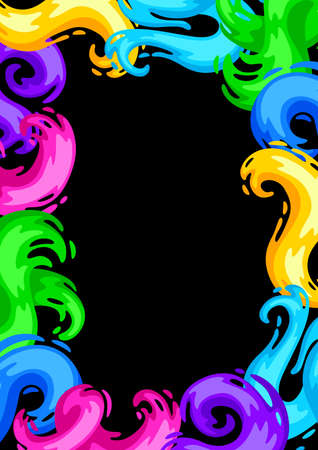 Frame with colored swirls or paint blots. Colorful shiny bright curls. Ilustrace