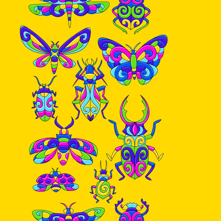 Seamless pattern with stylized bugs and insects. Mexican ceramic cute naive art. Ethnic decorative objects. Traditional folk floral ornament.