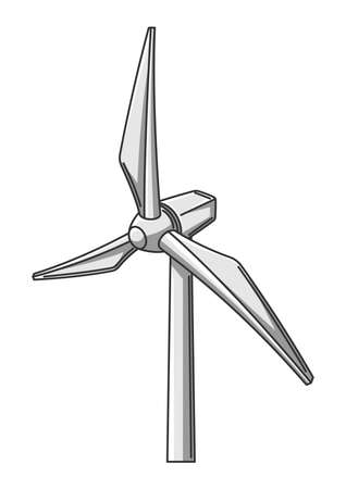 Illustration of wind turbine. Ecology icon or image for environment protection. Ilustrace