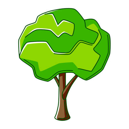 Illustration of green tree. Ecology icon or image for environment protection.