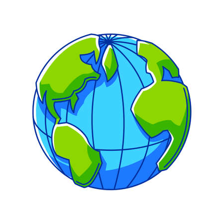 Illustration of Earth globe. Ecology icon or image for environment protection.