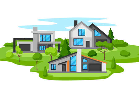 Background with modern luxury houses. Real estate country cottages.
