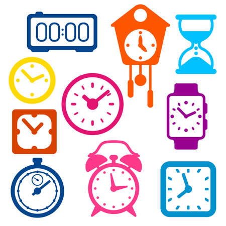Set of different clocks. Stylized icons and objects for design and applications.