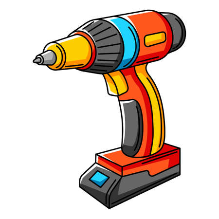 Illustration of electric screwdriver. Repair working tool. Equipment for construction industry and business. Ilustrace