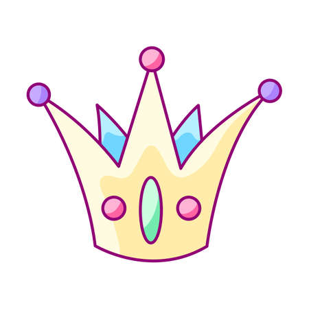 Illustration of crown. Colorful cute cartoon icon. Stylized picture for decoration children holiday and party. Ilustrace