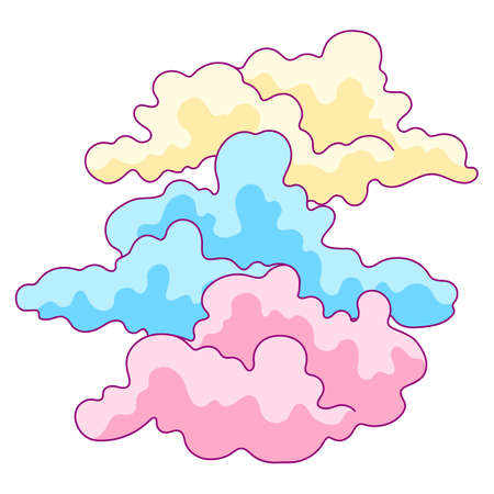 Illustration of color clouds. Stylized picture for decoration children holiday and party.