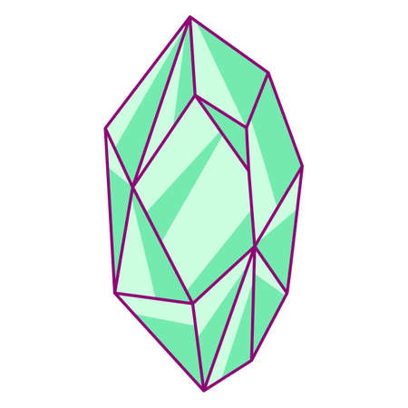 Illustration of shiny emerald. Stylized picture for decoration children holiday and party.