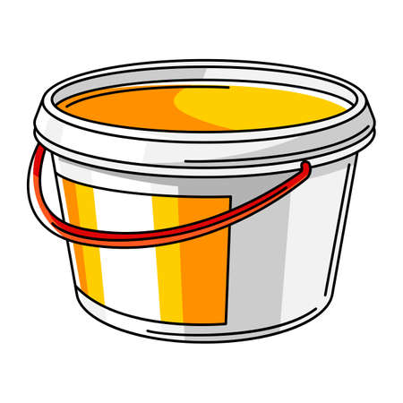 Illustration of paint can. Material for construction industry and business.
