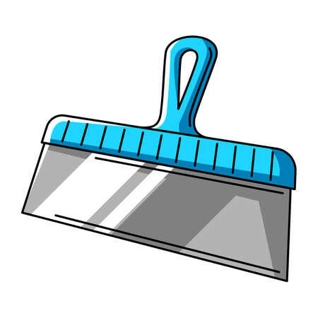 Illustration of putty spatula. Repair working tool. Equipment for construction industry and business.