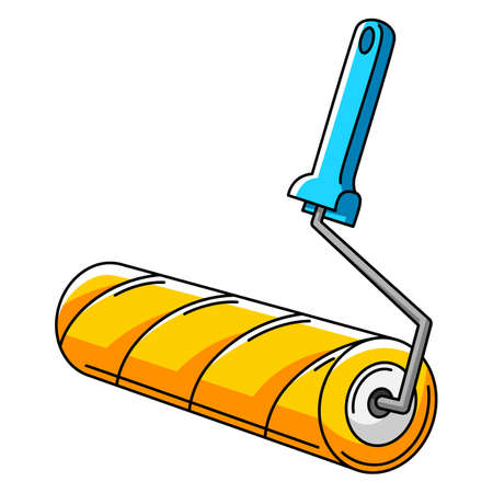 Illustration of paint roller. Repair working tool. Equipment for construction industry and business. Ilustrace