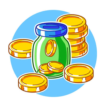 Banking illustration with money items. Business and finance concept. Economy and commerce stylized image.