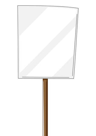 Illustration of banner. Blank demonstration poster. Picket sign or protest placard with wooden stick. Ilustrace
