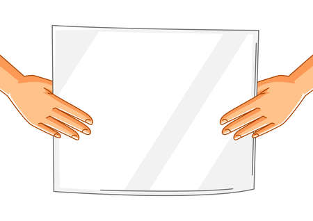 Illustration of hands with banner. Picket sign or protest placard on demonstration or protest. People holding blank demonstration poster.