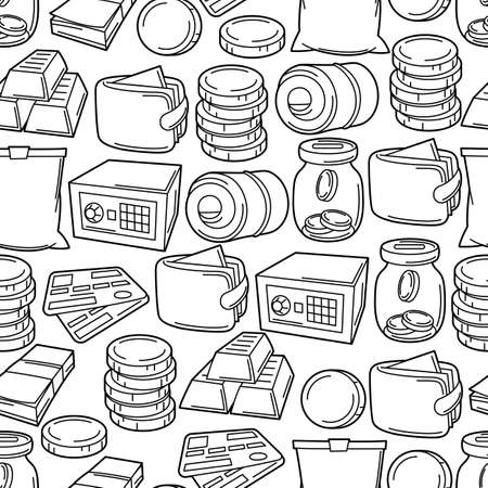 Banking seamless pattern with money icons. Business background with finance items. Economy and commerce stylized image. Ilustrace