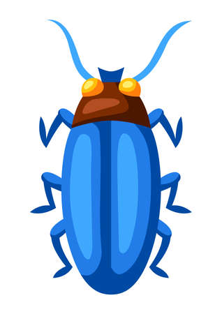 Illustration of colorful beetle. Stylized decorative color insect.