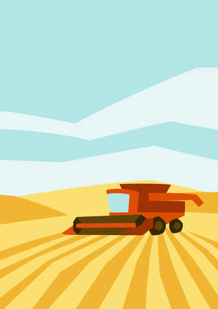 Combine harvester on wheat field. Agricultural illustration farm rural landscape. Seasonal nature background.
