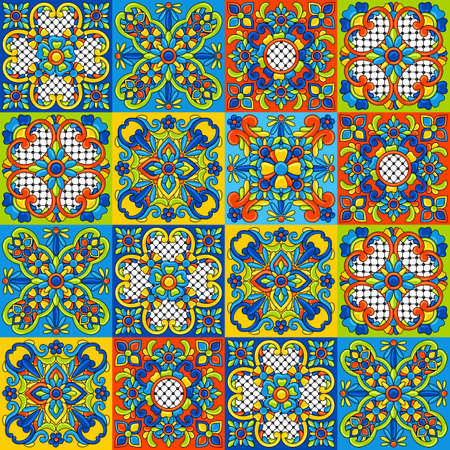 Mexican talavera ceramic tile seamless pattern. Decoration with ornamental flowers. Traditional decorative objects. Ethnic folk ornament. Vetores