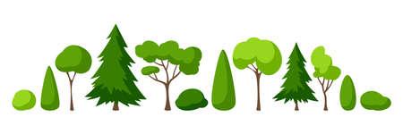 Set of trees, spruces and bushes. Summer or spring landscape. Seasonal nature illustration.