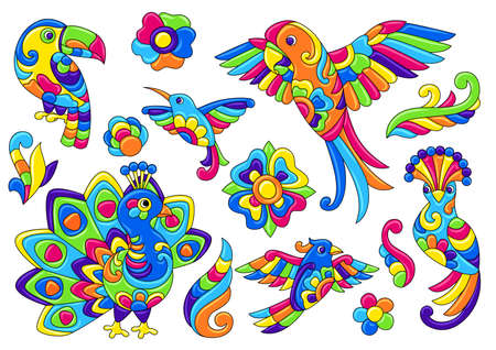 Set of decorative tropical birds. Mexican ceramic cute naive art. Ethnic decorative objects. Traditional folk floral ornament. Ilustrace