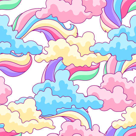 Illustration of color clouds and rainbows. Background for decoration children holiday and party. Ilustrace