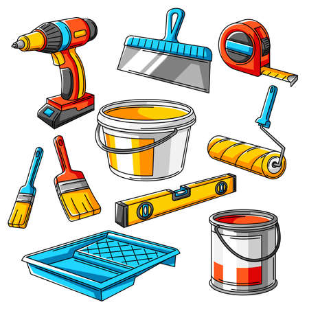 Repair working tools set. Equipment for construction industry and business.