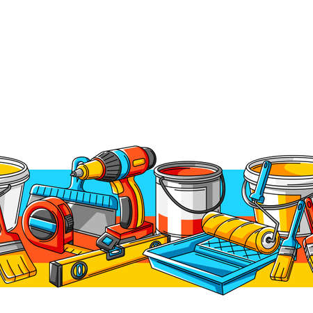 Seamless pattern with repair working tools. Equipment for construction industry and business.