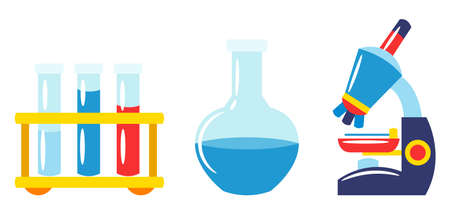 School and education ichemistry tems. Set of colorful supplies and stationery. Ilustrace