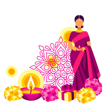 Happy Diwali greeting card. Deepavali or dipavali festival of lights. Indian Holiday background with traditional symbols.