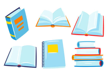 Set of books for school and education. Various stylized open and closed books. Ilustrace