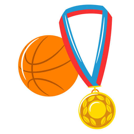 Basketball ball illustration with medal. Stylized image for sports or school
