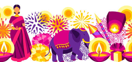 Happy Diwali seamless pattern. Deepavali or dipavali festival of lights. Indian Holiday background with traditional symbols.